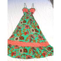 Vestido Solero Largo Verde Combinado Nuevo Talle M