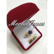Anillo Cintillo Con Circon Azul - Oro 18k - 3 Gramos - M. J