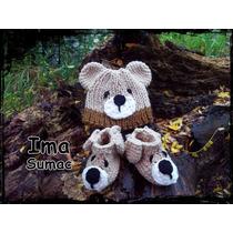 Conjunto Gorro Y Pantuflas Crochet Artesanal