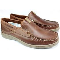 Zapato Hombre Mocasin Nautico De Cuero Scarpino 233-18
