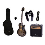 Combo Guitarra Electrica Parquer Les Paul Negra Amplificador