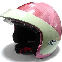 Casco Abierto Suomy Foo Rosa Mujer Dama C/ Visera Fas Motos