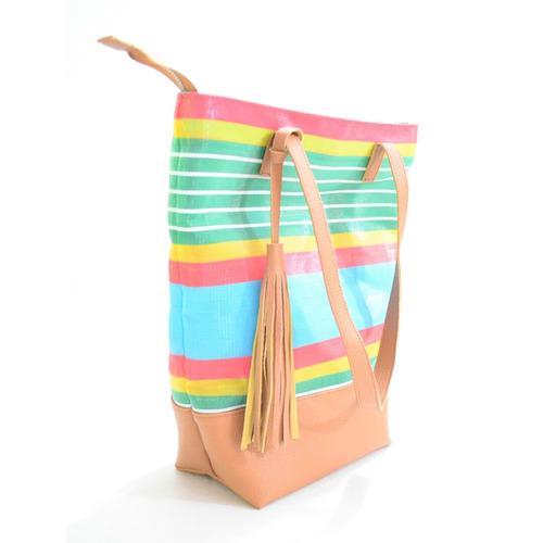 2b406b449 Cartera Bolso Verano Plástico Cuero Eco Multicolor Chela