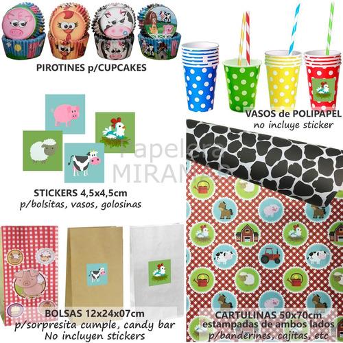 45eb1bc6c Combo Cumple Granja Bolsitas + Stickers + Vasos + Sorbetes + en ...