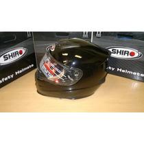 Casco Shiro Pista Monocolor Sh 821 Nuevo Modelo Negro Brillo