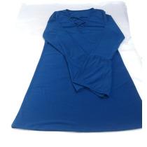 Vestido Liso Mangas Oxford De Lycra Acordonado