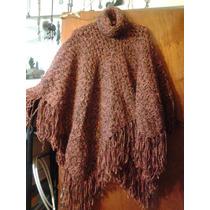 Capa De Lana Tejida Al Crochet Con Flecos Tipo Poncho