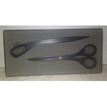 Set Cortapapeles Y Tijera Stainless Steel Negro Ideal Regalo