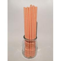 Sorbetes De Papel Estampados Chevron ( Naranja Y Blanco)