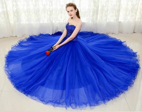 Vestidos de quince color azul francia