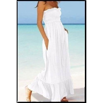 Vestido Largo Strapless Blanco Puro Algodon. Talle 3