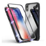 Funda Metalica Magnetica Vidrio iPhone X Xs Max  8 7 6 Plus