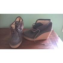 Zapatos Botinetas Cuero Marron Cordones De Gamuza Plataforma