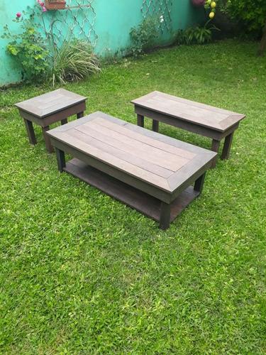 Juego Jardin Mesa Ratona 120x60 Madera Plastica Con 2 Bancos ...