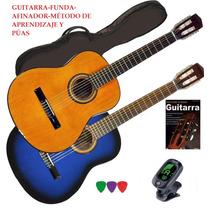 Guitarra Criolla Funda + Puas + Afinador + Metodo