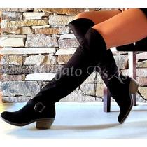 Botas De Mujer Caña Alta Bucaneras Gamuzadas Tipo Texanas