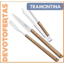 Set Asado Tramontina Cuchillo Tenedor Pinza Acero 3 Pzs