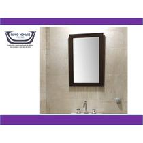 Espejo Con Marco Blanco Wengue 50x70cm S/ Peinador S/ Luz