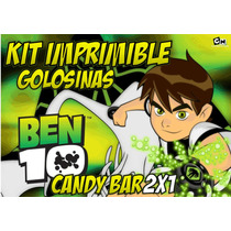 Kit Imprimible Ben 10 Premium Editable Candy Bar Golosinas