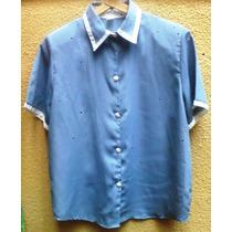 Camisa De Crepe De Seda, Color Celeste Acero.con Leve Brillo