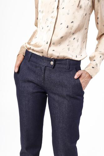 Pantalón Jean Elastizado Vestir Azul Tiro Medio Giacca a3b304bca015