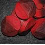 Lote 4 Botones Plástico Rojo Y Negro 3,2cm (bb50)