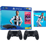 Sony Playstation 4 1tb Ultra Slim + Fifa19 + 2 Joystick Ps4