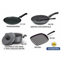 Set Tramontina Biferta+cacerola+sarten+panquequera ¡oferta!