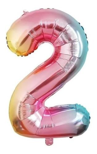 Globos Metalizados Números Arcoiris - 32 Pulgadas - Lollipop
