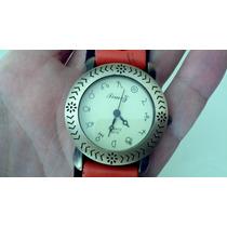 Reloj Malla Cuero Naranja Y Azul. Caballito