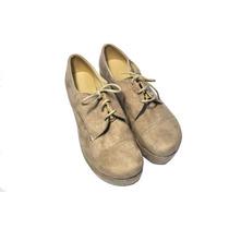 Botita Simil Gamuza Beige - Zapato Con Cordones