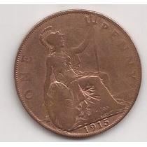 Gran Bretaña Antigua Moneda De Cobre 1 Penny Año 1915