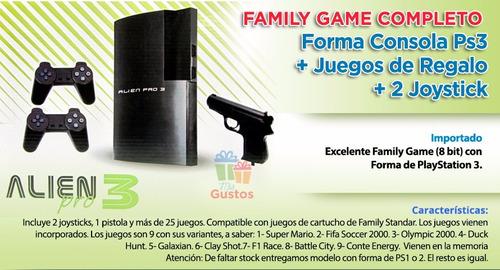 Family Game Alien 3 Con 2 Joystick Pistola Juegos 800 En
