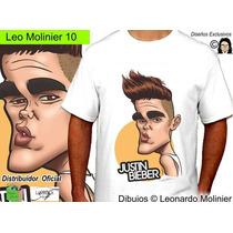 Justin Bieber Caricaturas Remeras Leo Molinier Unisex Dama
