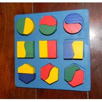 Juego Encastre De Figuras Divididas Geométricas Demaderitas