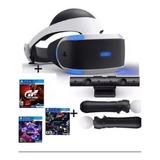 Casco Realidad Virtual Sony Ps4 Vr +camara+moves+3 Juegos
