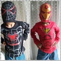 Hombre Araña Negro Camiseta Disfraz Heroe Capucha Mascara