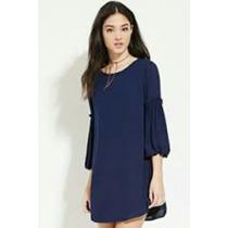 Vestido Azul Marino Creppe Forever 21 Importado Nuevo Mujer