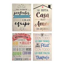 Cuadro Decorativo Frase Vintage Frases Set X4 Unidades En