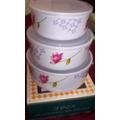 Kit 3 Bowls Melamina Con Tapa Caja Freezer/microonda Envio V