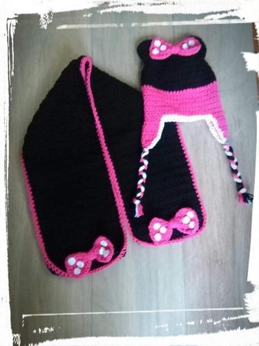 Gorro Y Bufanda Tejida A Crochet Minnie Mickey eab44132367