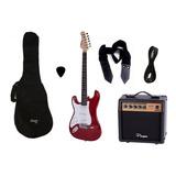 Combo Guitarra Electrica Parquer Roja Zurdo Amplif 10w Cuota