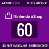 Tarjeta Nintendo Eshop Prepaga U$60 Usa | Entrega Inmediata
