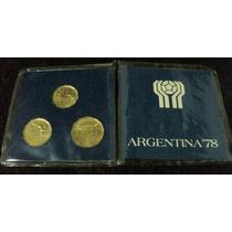 Estuche De 3 Monedas Conmemorativas Del Mundial 78