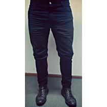 Pantalón Negro De Gabardina Semi Elastizado - Talles Varios
