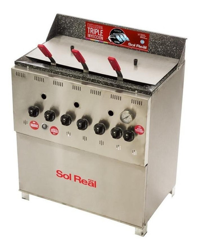 Freidora  Industrial Sol Real 057 Triple Inyección Plata
