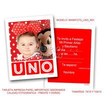 Invitaciones Tarjeta 10x15 Foto Primer Cumple Mickey Minnie