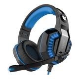 Auriculares Gamer Gadnic A-37 Pro Black Y Light Blue