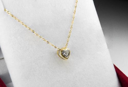 6f7db960ef5f Conjunto Dije Y Cadena Oro 18k Corazon Piedra Pasante Mujer en venta ...