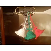 Tres Minicampanitas Navideñas Tejidas Al Crochet.
